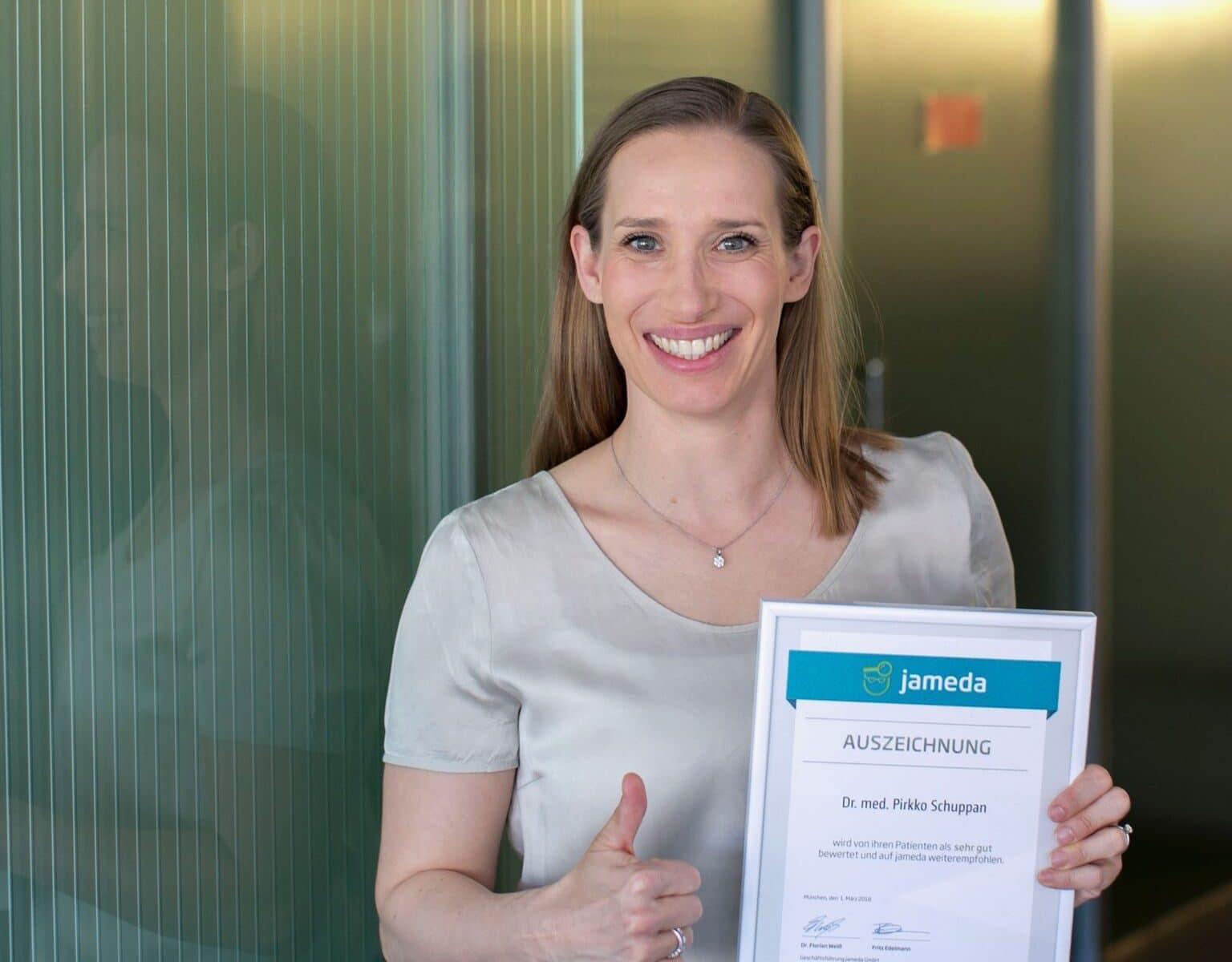 Frau Dr. Pirkko Schuppan mit einer Jameda Auszeichnung