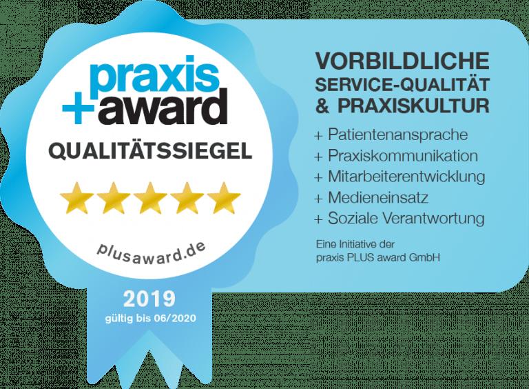 Praxis Plus Award für vorbildliche service-Qualität und Praxiskultur 2019 Frau Dr. Pirkko Schuppan
