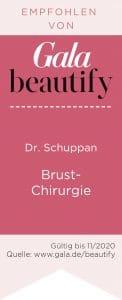 Dr. Schuppan wird für den Bereich Brust-Chirurgie empfohlen von Gala beautify